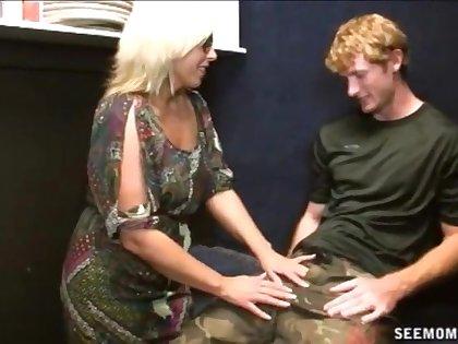 Big dick guy enjoys a sloppy blowjob unfamiliar grown-up blonde Caray Riley