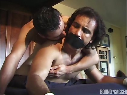 Amateur gays filmed when getting misapplied in BDSM sexual connection scenes