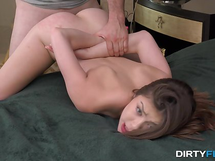 Sweetie gets fucked in hardcore by the needy step brother