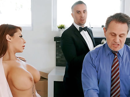 Horny butler is preparing to anal fuck housewife