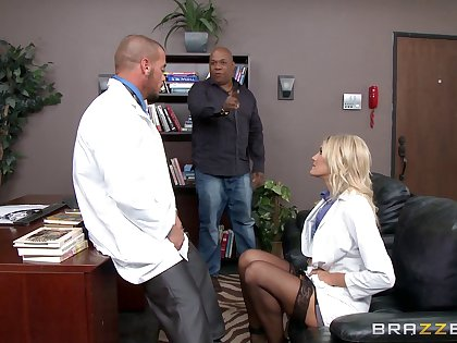 Horny blonde doctor Audrey Performance loves to have sex in say no to office