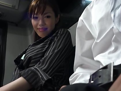 Japanese young gentleman is sucking a rock hard meat buckle down to in the train with an increment of getting fucked hard
