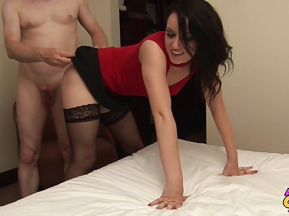 Jasmine Lou wears stockings together with takes care of one insanely small shaft