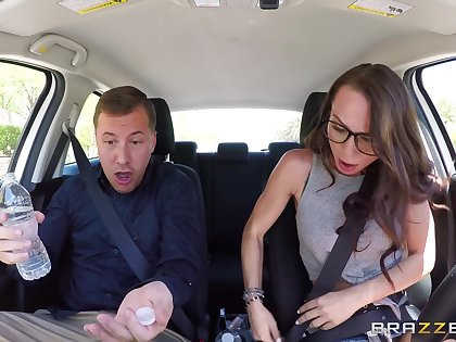 Nerdy newborn rides the stiff dong in such a way that she cums first