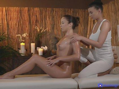 Swishy sex on the massage table with sexy pornstar Lucy Li