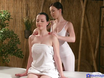 Massage between lesbian angels leads them both to insane orgasms