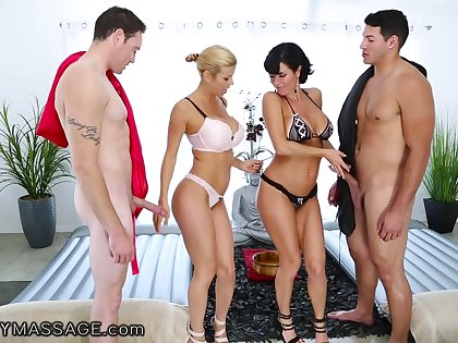 Cougar masseuses Alexis Fawx and Veronica Avluv are fucked by two torrid men
