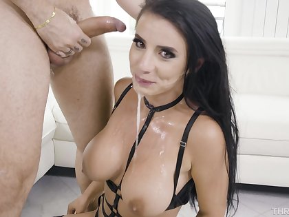 Cock hungry brunette Nelly Kent enjoys getting throat fucked