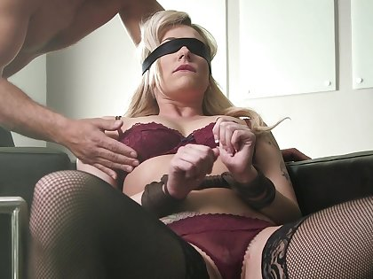 Dahlia Sky blindfolded, licked and pounded more a leftover be required of positions