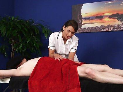 Play a joke on massage and handjob