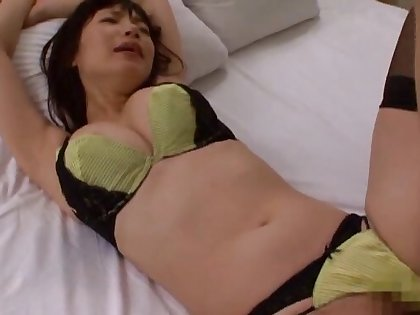 Closeup video of a foxy Japanese girl in stockings riding a learn of